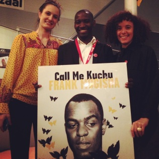 THE HAGUE: We couldn't help grinning with Ugandan activist Dennis Wamala when we saw the rather lovely poster honoring Frank Mugisha (one of David Kato's friends and colleagues) and Call Me Kuchu at the Movies That Matter Film Festival.
