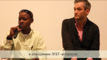 ST PETERSBURG, RUSSIA: Stosh, one of the LGBT activists featured in Call Me Kuchu, answers questions at the Side By Side LGBT Film Festival in St. Petersburg.